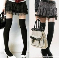 Over The Knee Socks Cotton Sock Thinner 3 Colors Black, White, Grey ,Bluefor Selection free shipping 6pcs/lot
