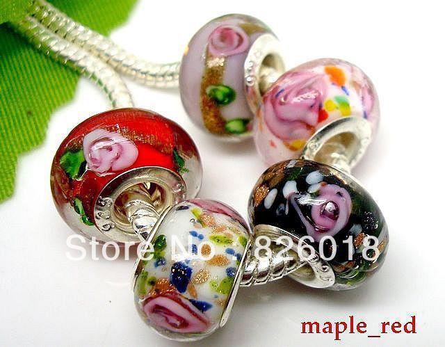 100pcs mixed Beautiful Flower Lampwork Glass Big Hole Beads Fit European Charm Bracelets & Necklaces(China (Mainland))