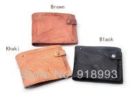 Men casual printing wallet leather wallet purse buckle folds design retro ride wallet
