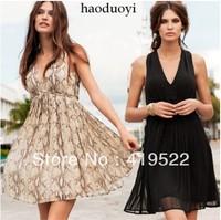 Stock! ! ! Free shipping 2013 new European and American big snakeskin pattern knee-length sleeveless chiffon dress code 6 yards