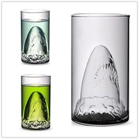 Creative Shark Shape Heat-resistant Glass Cup Double Walled Glass Wall Borosilicate Whiskey Wine Beer Drinking Cup