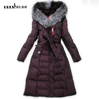 Luxury snowimage fur collar thickening long down coat female