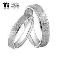 New Titanium Steel Promise Ring Couple Wedding Bands Shine Frost lovers gift Free Shipping G&S084