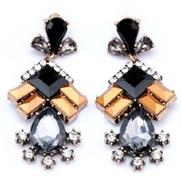 Luxury Star Black Gem Earrings Cool Fashion Jewelry Factory Wholesale