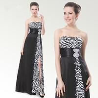 Long Design Evening Dresses Strapless Zebra Print High Waist Placketing Banquet Dress Free Shipping