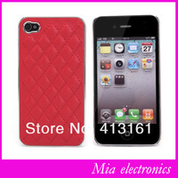 Free Shipping Luxury Deluxe Quilted Leather New Design Chrome Hard Case Cover For iPhone 5 5S Leather Skin Shell For iPhone 5 5S
