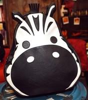 2014 Spring New Fashion Girls Vintage PU Leather Back Packs Cartoon Animal Zebra Girl Student Shoulders School Bags Backpack