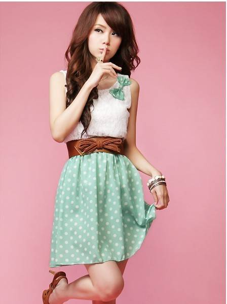 Free Gift Fashion 1660 cute sweetheart butterfly brooch lace patchwork dot slim waist vest one-piece dress send strap(China (Mainland))