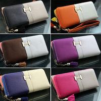 Hit Color Long Faux Leather Women Zipper Wallet Clutch Bag Ladies Purse Handbags