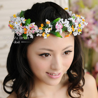 Bride meat garishness hair accessory hair bands style bridesmaid hair accessory wrist length flower set