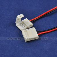 100x  2 pin 10mm Single Color Light with Connector Cable  for 3528 5050 SMD LED Strip Light Free Shipping