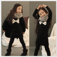 Free shipping sweater bow wheelbase sleeved T-shirt Children T-shirt bottoming shirt Children