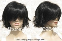 Wholesale Imitation human made no lace women's Vogue Black Jet black bang short spike gradation cosplay hair wig
