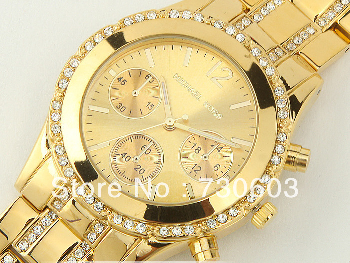Free Shipping + newest fashion three full diamond fashion watch fashion watch quartz watch + send watch Box(China (Mainland))