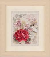 Free Shipping Dmc cross stitch rs vv-pp-0145133 rose linen cloth  christmas