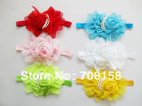 free shipping,120pcs/lot New Girls Chiffon Pearl Headband Baby Rose Satin Bow Hairband Photography Prop,12 color can choose