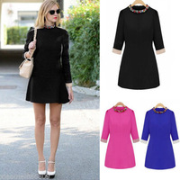 2014 Vogue Womens Colors Auger 3/4 Sleeves Crew Neck Slim Pencil Mini Dress