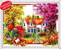 Free shipping Wholesale retail DIY diamond painting diamond cross stitch kit Inlaid decorative painting Autumn scenery DM1203057