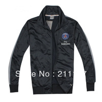 Best qualuty 2013/14 Paris Saint-Germain black football soccer jacket,PSG black football coat/sweater 2014