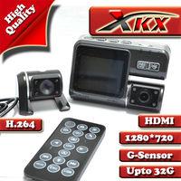 Three Lens Camera Panoramic View 360 Degrees  Car Dvr Camera Black Box Video Recorder With H.264 Gsensor  Freeshipping