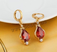 Free shipping!!!Brass Lever Back Earring,2013 new fashion, Teardrop, 18K gold plated, with cubic zirconia, nickel