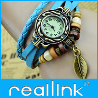 Reallink free shipping new Arrivals Genuine Leather Hand Knit Vintage Watches,bracelet Wristwatches Leaf Pendant