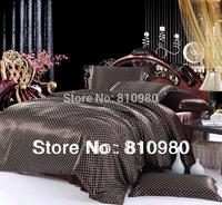 Via super cool silky Persian silk bedding silk bedding set cool odd browns 4pc set FREE SHIPPING