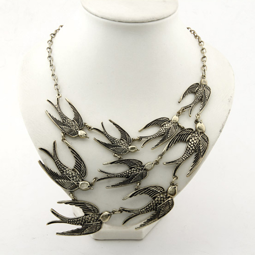 Fashion Statement Jewelry Necklace Vintage Swallow Choker Necklace 1pc Lot with Free shipping A1746
