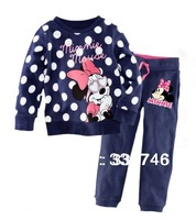 2013 New Cotton Mickey Kids Girls Baby's Pajamas Children Clothing 2 pcs Set Cute Outfit Costume