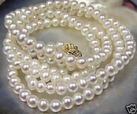 "Beautiful!8-9mm White Akoya Cultured Pearl Necklace 36"" MY1422"