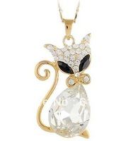 CUTE CAT PENDANT WITH CZ STONE HOT SALE 2014