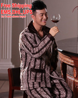 Free shipping snow Winter sleepwear male thickening coral fleece long-sleeve sleep set male lounge stripe pajamas set