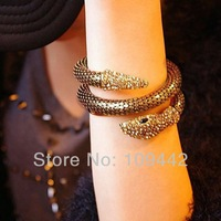 Wholesale 10sets/lot punk 18K gold plated rhinestone crystal necklace bracelet flexible snake Jewelry Sets GJS105 Free Shipping