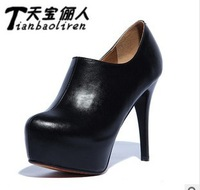 2013 Autumn sexy platform ankle boots black red bottoms high heels women pumps with red sole shoes black blue size 35-39