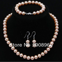"""Hot Sale  Genuine AAA Cultured Freshwater 7-8mm ROUND pink Pearl Necklace set 18""""  fashion jewelry"""
