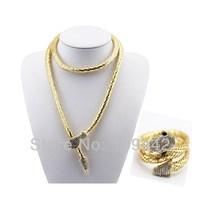 Free Shipping 18K gold plated rhinestone crystal flexible snake necklace bracelet Fashion Jewelry Sets 2sets/lot GJS105