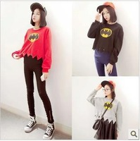 2014 new spring long sleeve women/girl/lady's crop top batman crop top free shipping