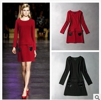 2014 Spring Summer Runway Fashion cotton blends Dress Women's slim red black long sleeve Dress with pockets S-XL free shipping