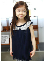Girls' Dress! New arrival! Girls sleeveless dress. Children chiffon  fashion gold collar pleated dress  GTJ-Q0079