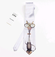 Original Design Dress Casual Party neck tie Cool Doctor Cat with glasses fashion Valentine's Day birthday gift  for boyfriend