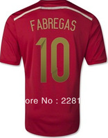 Spain 2014 Brazil World Cup home #10 FABREGAS soccer jerseys football jerseys with shorts  top thailand quality soccer uniform