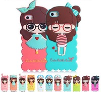 One-piece sale,top quality cute silica gel cartoon phone shell for 4/4s/5,protective case for apple phone,