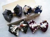 "FreeShipping 12pcs/lot 5"" feminine printed plaid frosted chiffon large hair bow hair clip fashion korean hair barrette F80781"