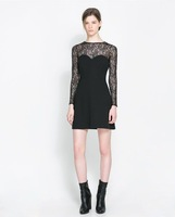 201312 New Fashion  Women's Sexy Lace Patchwork Essentials Match all Black color long sleeve Slim dress  Evening Dresses