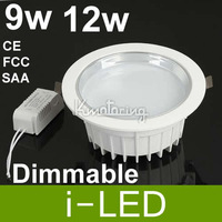 50p/lot  9W 12W 110V 220V LED White Warm Downlight Recessed Ceiling with Light Driver 2700k 4500k 6500k FCC SAA CE$ROHS