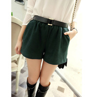 Women's 2013 autumn vintage elastic waist woolen shorts wide leg pants casual pants short skirt