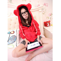 Women's 2013 autumn ears with a long-sleeve hood sweatshirt plus size top outerwear