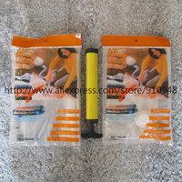 FREE SHIPPING! 2 pc of 50*60cm  vacuum compressed bag plus 1 pc of hand air pump for vacuum bag