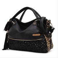 2014 New Fashion Hot Sale casual leopard print bags one shoulder handbag women's handbag leather messenger bag W2007