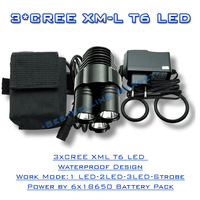 Cycling Bicycle Light 3x XM-L T6 LED 4500Lm Rechargeable LED Bike Lamp With 18650 Battery Pack And Charger